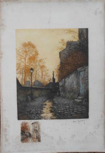 Aquatinte et aquarelle, gravure collée sur un carton acide