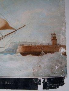 detail de l'aquarelle decollée apres nettoyage