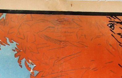 restauration d'affiches, détail du comblement d'un trou