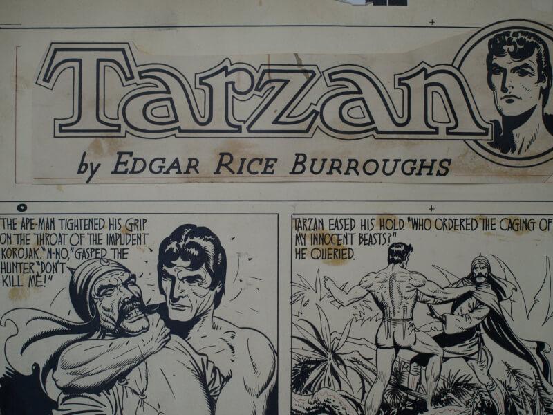 restauration de planche de bande dessinée sur carton avec jaunissement des colles