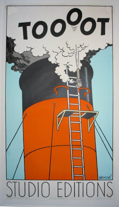 Lithographie après restauration, affiche de Tintin