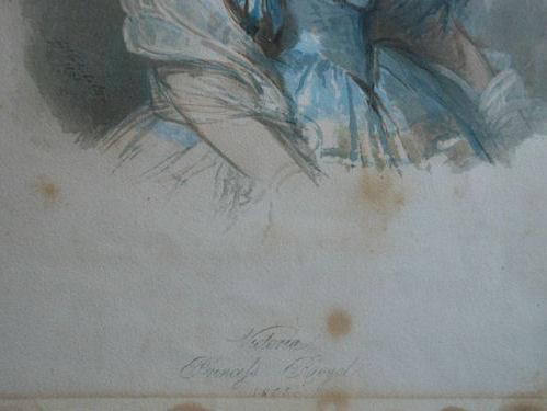 détail de l'aquarelle avant nettoyage