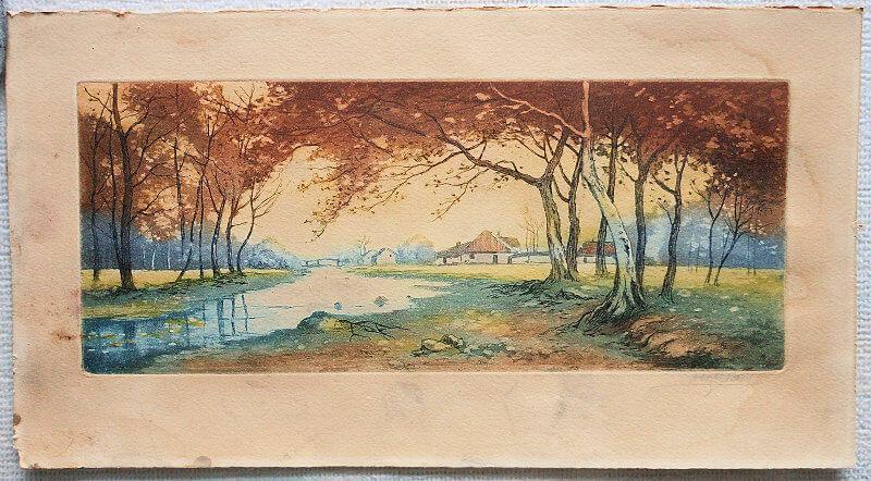 eau-fotre et aquatinte en couleur sur papier dérivé de coton. Couleurs d'impression