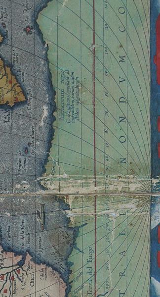 Détail de la carte ancienne avant restauration
