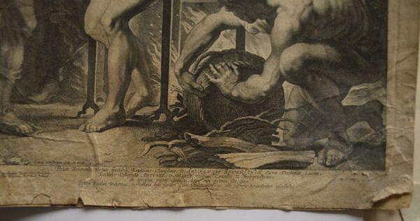 Détail, nombreuses déchirures dans la gravure