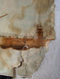 décollage d'une aquarelle moisie et collée sur carton gris