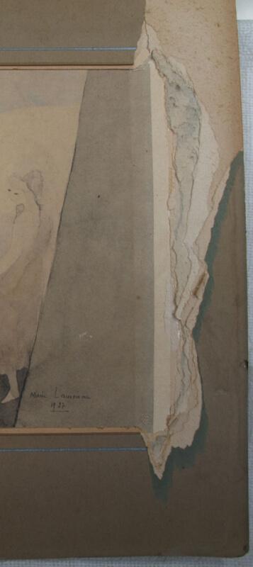 aquarelle collée sur carton avec passe partout collé sur le fond et les bords du doc