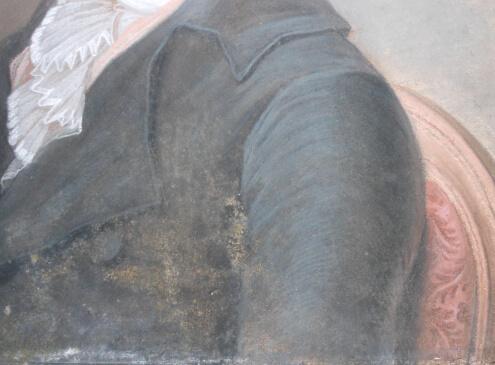 Ce pastel présente de nombreuses moisissures encore bien actives ainsi que des traces anciennes.