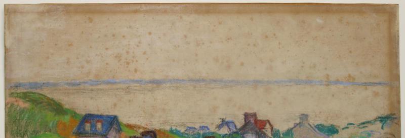 décollage et nettoyage d'un pastel de Guillaumin présentant de nombreuses traces de foxing.