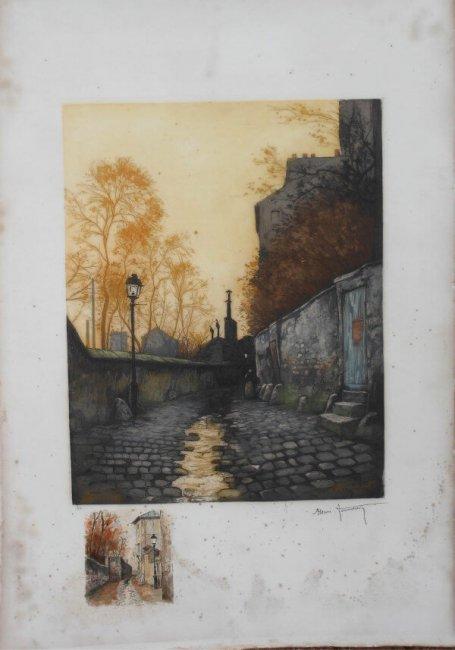 gravure à l'aquatinte et petite aquarelle sur papier de linters de coton