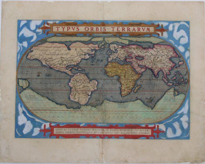 Carte ancienne du géographe Ortélius après restauration. Décollage, nettoyage, réparation des déchirures et estompage de celles-ci.