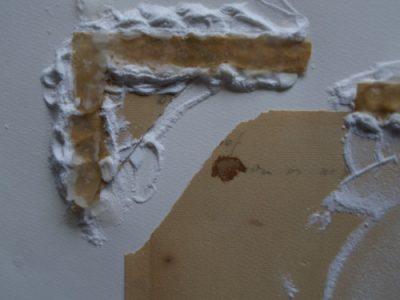 Restauration des dechirures d'une aquarelle, décollage du kraft
