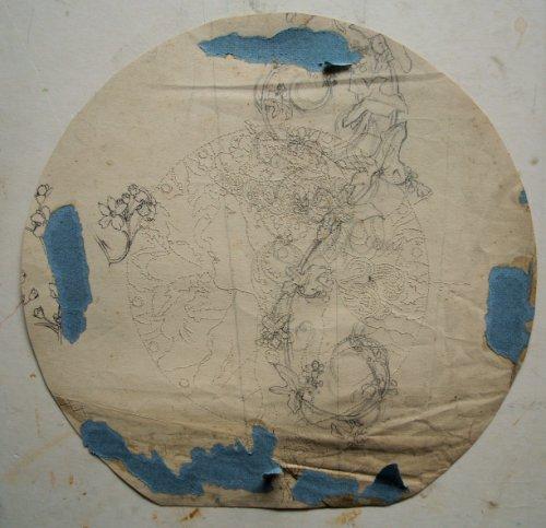 Verso d'un dessin de Mucha, en cours de décollage et de restauration