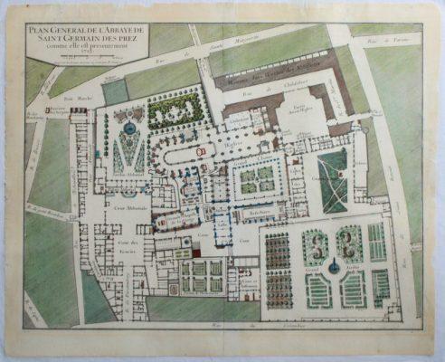 Restauration des déchirures d'une eau-forte aquarellée. Plan de l'abbaye de Saint Germain-des-Prés par le graveur Sanry (fin XVII siècle). Gravure à l'eau-forte sur papier chiffon ancien