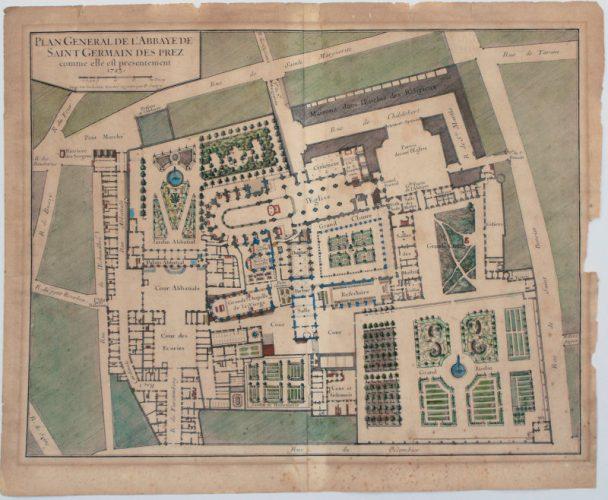 Restauration déchirures.Plan de l'abbaye de Saint Germain- des-Prés par le graveur Sanry (fin XVII siècle). Gravure à l'eau-forte sur papier chiffon ancien, aquarellée.