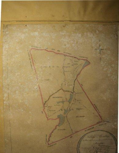 Page du recueil de plan cadastraux avant restauration, moisissures et salpêtre